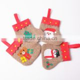 Colorful burlap christmas stockings for home decor