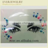 Custom festival high quality crystal face tattoo glitter rhinestone sticker