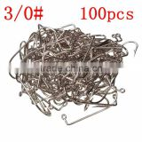 High Quality Size 3/0 Fishing Tools Lot 100PCS Jig Hook Jig Big Stainless Steel Fishing Hooks White Color Fish Hook