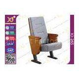 Heavy Duty Foldable Tablet Library Auditorium Chairs With Wooden Arm Surface Finish