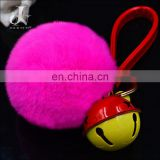 China Supplier Real Rex Rabbit Fur ball with Jingle Bell Pompom Keychain