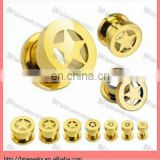 Gold Plated over 316L Surgical Steel Screw Fit Tunnel with Star ear body piercing jewelry rings