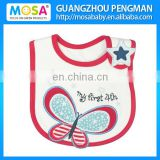 2015 New Fashion Butterfly Cotton Waterproof Baby Bibs for Girls