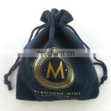 Suede double pull small velvet jewelry draw string bag