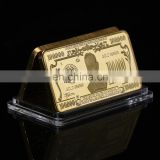 WR 24k Bill Banknote Gold Bar Quality 999.9 Gold Banknote Metal Bars with Plastic Case for business gift