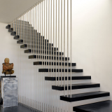 Modern wood floating staircase with stair railings design