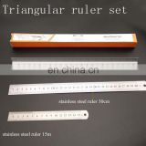 "3Pcs Packing Ruler Set 12""triangular scale ruler 12""and 6"" stainless steel flat ruler"