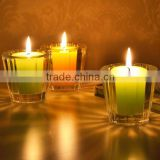 Hand made clear glass mug shaped thick wall and bottom replacement glass candle holder with green and orange candles