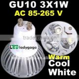 2012 NEW! High Cool White Warm White LED 3W spot Lamp Bulb AC85~265V,270lm,High strength glass Heat sink 3x1W GU10 led spotlight