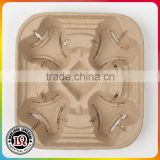 Disposable Molded Fiber four Cup Drink Carrier                                                                         Quality Choice