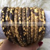 2016 New Design Classic Matt Yellow Snake Skin Cord Python Leather Cord Luxury Design For DIY Bracelet Fashion Style Men