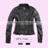 Glo-story brand womens lady sexy leather jacket