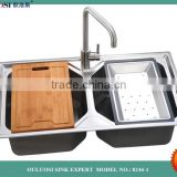 China hot sell stainless steel kitchen double sinks and faucets                                                                                                         Supplier's Choice