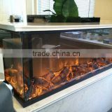 3 sided decorative cheap steel electric fireplace with five level adjustalbe flame effect