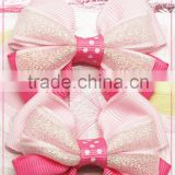 Noble Gold boutique grosgrain ribbon hair bows with clips girls kids children