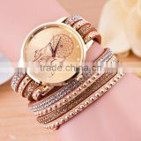 2016 new product Vintage Fashion watch,dream catcher leather watch bracelet with stones                                                                         Quality Choice