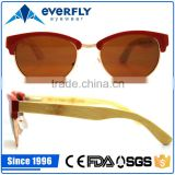 2015 new popular fancy attractive wine red acetate metal mix front wood bamboo sunglasses