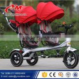 Russian market bicycle child tricycle three wheels / 2 seat child tricycle with canopy / double seat children twin tricycle