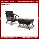 MA-MD133 Modern Furniture Italy Design Living Room Wood Frame Leather Armchair With Ottoman