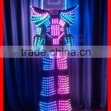 Remote controlled LED dance robot suit, LED tron dance robot costume, LED stilt walker suit