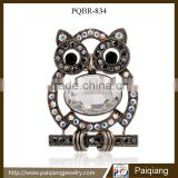 Newest design fashion gun black rhinestone diamond owl brooch