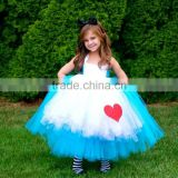 (MY2844) MARRY YOU 2016 Blue And White Tulle Halter Neck Full-length Ball GOwn Flower Girl Dress Patterns