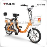 "16"" steel frame electric bicycle Tailg electric bike with rear battery TDR146z"