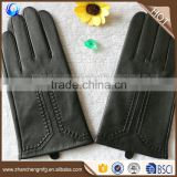 Hot sale cheap mens black tight goatskin leather gloves for touch screen