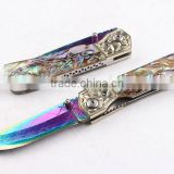 OEM Damascus blade material Silk color Abalone handle folding knife