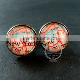 20mm vintage antiqued bronze New York old map art collage glass cabochon round cufflinks fashion wedding cuff links 6600040
