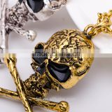 Hiphop imitation jewelry halloween necklace punk skull pendant with bone statment necklace sweater chain Yiwu factory