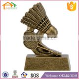 Factory Custom made best home decoration gift resin polyresin trophy craft with shuttlecock