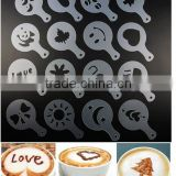 CY183 16Pcs/set Mold Coffee Milk Cake Cupcake Stencil Template Coffee Barista Cappuccino Template Strew Pad Duster Spray Tools