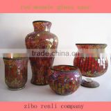 Splendid Mosaic Modern Wedding Gifts Crackle Single Red Golden Vase Chinese Flower Arrangements