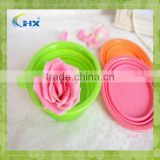 Alibaba Wholesale Silicone Collapsible Pet Food/water Dish Dog Travel Bowl With Bone Clip