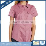 Outdoor Industry Anti-UV UPF 50+ Wrinkle-Resistant Work Shirt for Ladies with Short Sleeve with Front Darts for Fit