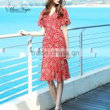 Maxnegio floral print bohemian dress v neck border print fabric dress
