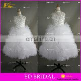 Custom Made Beaded Crystal Top Ball Gown Ruffle Organza Flower Girl Dress White