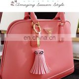 Ladies Evil Eye PU Leather Tassel Flower Keyring Chain Bag Purse Charm Handbag Accessories