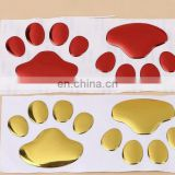 newest design and OEM order 3D animal dog cat bear foot car body sticker 3M silver gold red car stickers