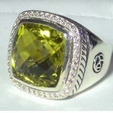 Sterling Silver Jewelry 15mm Lemon Citrine Albion Ring(R-124)