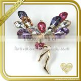 Cuties angel wings brooch pin with mixed up color rhinestone FB056