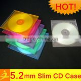 color/clear/black slim single 5.2mm PS leather single cd case