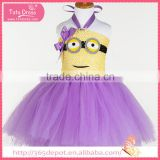 Satin Ribbon violet cartoon movie character pattern gauze dress halloween costume