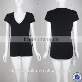 guangzhou tshirt factory custom blank tshirt no label v neck plain black tshirt women