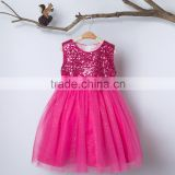 Fashion Rose Red Sequin Organza Fabric Baby Girl Party Dress for Children