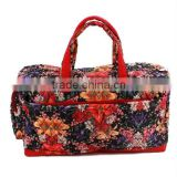 Printed Cotton Floral pattern Weekend Bag, Duffel Bag ,Quilted Bag, Travel Bag