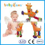 babyfans 2015 New Product Cartoon Animal Toys And Plush Giraffe Stuffed Baby Toys Baby Bed hanging toy with Rattles