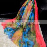 custom design digital printed polyester chiffon scarf ,imitated silk chiffon long scarves and shawls,chiffon georgette hijab