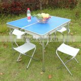 Aluminum folding picnic table with 4 chairs - both used in door and outdoor